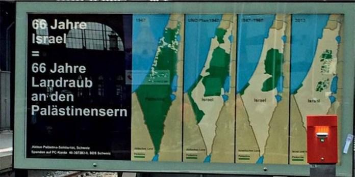 """Auch die Schweizer """"Palästina Solidarität"""" benutzt die fehlerhaften und manipulativen Karten. Aushang SBB Bahnhof Zürich 2014. Foto Twitter"""