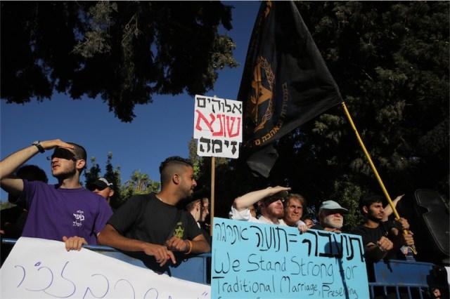 Kundgebung von Gegnern der Parade. Foto Hillel Maeir/TPS