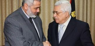 Hamas Chef Ismail Haniyya und der PA-Vorsitzende Mahmoud Abbas. Foto Twitter / Alray.ps