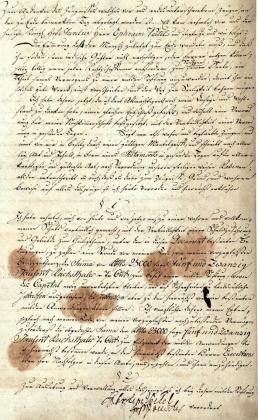 Erste und letzte Seite der Stiftungurkunde von 1799 mit der Unterschrift des Stifters (Brandenburgisches Landeshauptarchiv)