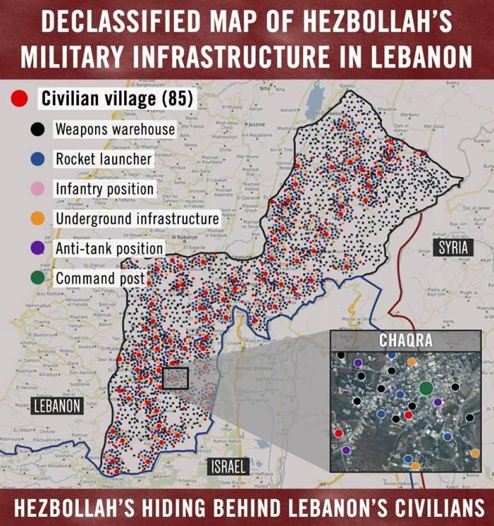 Militärische Infrastruktur von Hisbollah. Quelle IDF