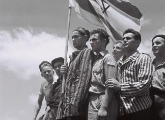 Ehemalige KZ-Buchenwald-Häftlinge auf einem Schiff im Hafen von Haifa, 15. Juli 1945. Foto PD