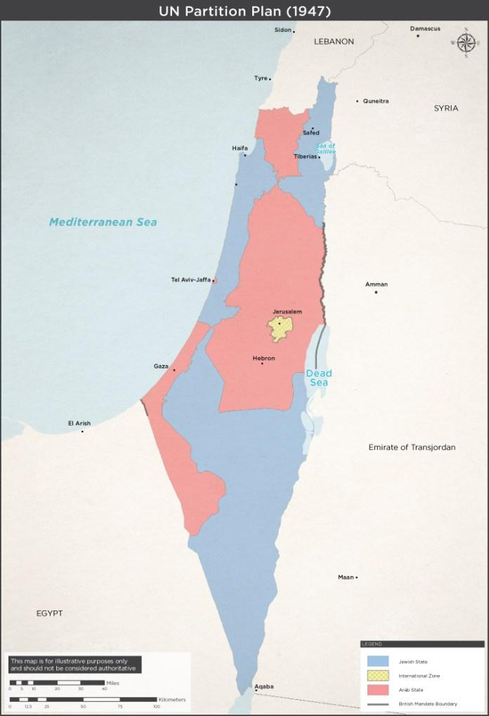 Am 29. November 1947 stimmte die UN-Generalversammlung über den Teilungsplan ab, der mit 33 zu 13 Stimmen bei 10 Enthaltungen angenommen wurde. Die jüdische Seite akzeptierte den UN-Plan zur Gründung von zwei Staaten. Die Araber lehnten es ab und starteten einen Vernichtungskrieg gegen den jüdischen Staat.