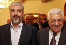 Khaled Mashaal, Hamas-Führer (links) und Mahmoud Abbas, Präsident der Palästinensischen Autonomiebehörde, bei einem Treffen in Kairo, Ägypten am 24. November 2011. Foto Büro von Khaled Mashaal.