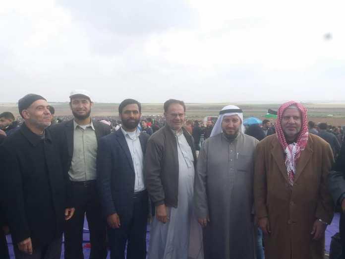 Auch Hamas-Sprecher Mushir al-Masri (3. von links), der 2012 von einem ehemaligen Nationalrat der Grünen im Schweizer Bundeshaus begrüsst wurde, nahm am sogenannten «Marsch der Rückkehr» teil. Foto Facebook.