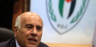 Jibril Rajoub an einer Pressekonferenz in Ramallah. Foto Issam Rimawi/Flash90