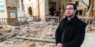 Pater Toni Tahan im Januar 2018 in einer Armenisch-Katholischen Kirche in Aleppo, die bei einem Angriff durch Bomben zerstörte wurde. Foto Open Doors