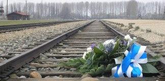 Blumen zum Gedenken auf den Bahngleisen der Entladerampe im KZ Auschwitz-Birkenau. Foto Dnalor 01, CC BY-SA 3.0 at, https://commons.wikimedia.org/w/index.php?curid=33103769