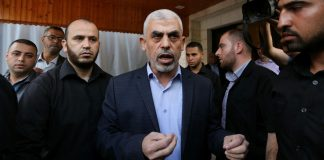 Hamas Chef im Gaza-Streifen, Yahya Sinwar. Foto Majdi Fathi/TPS