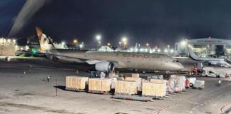 Etihad-Flugzeug in Tel Aviv. Foto Moni Shafir/Israelische Flughafenbehörde