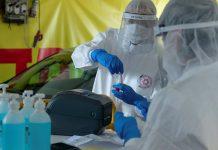 Coronavirus-Testzentrums im Hayarkon Parkr in Tel Aviv. Foto Kobi Richter/TPS
