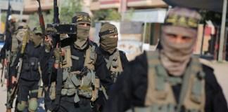 """Bewaffnete Mitglieder der Al-Quds-Brigaden vom """"Palästinensischen Islamischen Dschihad"""" an einer Parade im zentralen Gazastreifen. 3. Oktober 2019. Foto Majdi Fathi/TPS"""