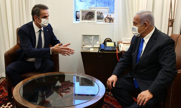 Premierminister Benjamin Netanjahu empfängt den griechischen Premierminister Kyriakos Mitsotakis am 8. Februar 2021 in Jerusalem. Foto Haim Zach / GPO