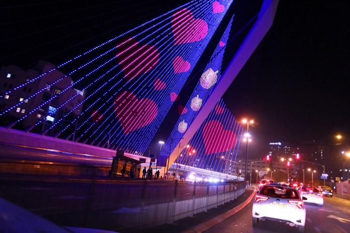 Jerusalems Kettenbrücke, die für das