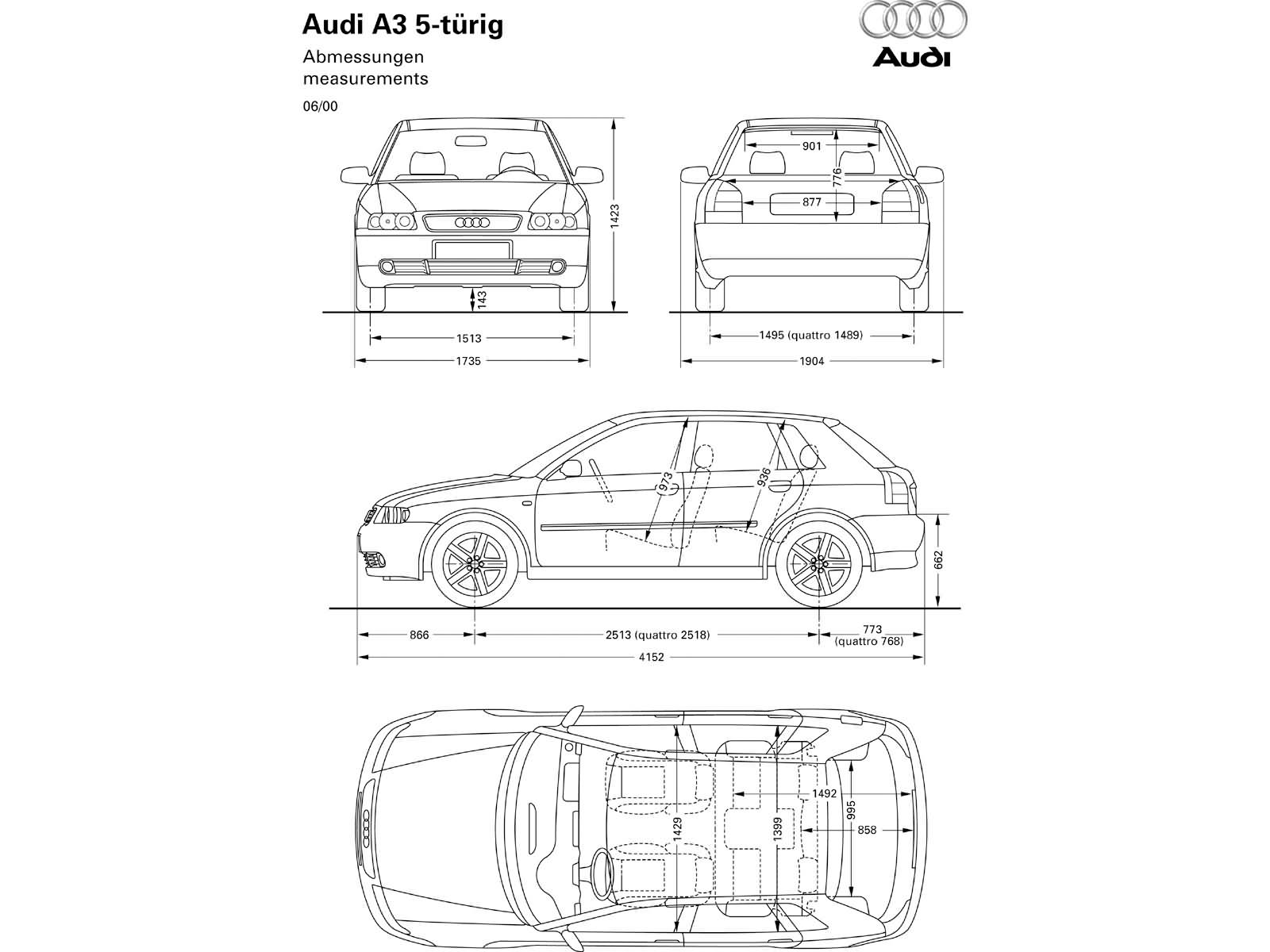 Audi A3 8p 3d Wymiary