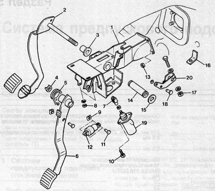 Педаль сцепления — снятие и установка (Ауди 100 С3, 1982