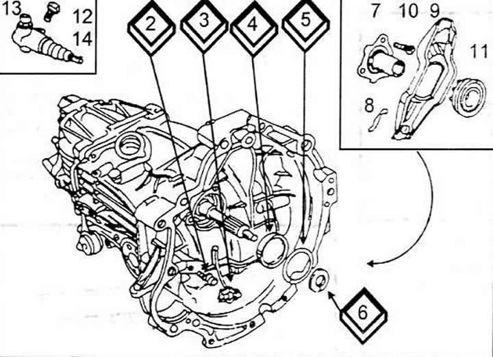 Механизм выключения сцепления (Ауди 100 С4, 1990-1994