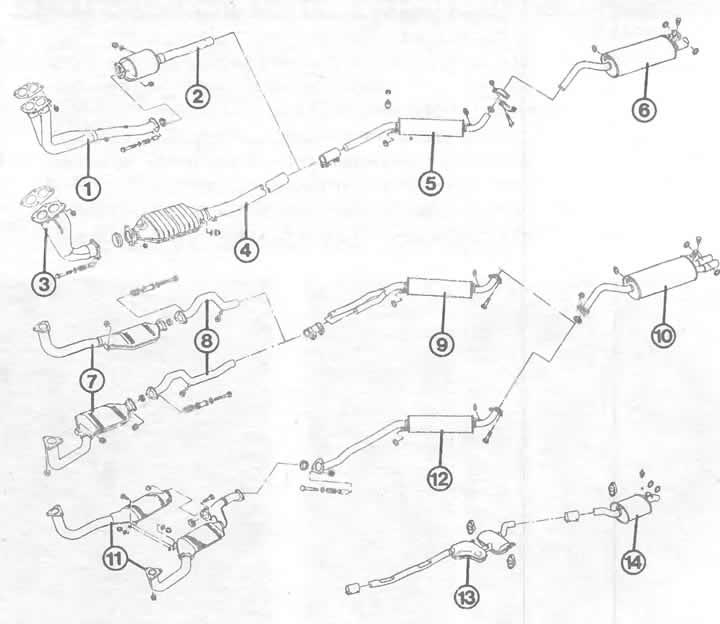 Составные части системы выпуска отработавших газов (Ауди