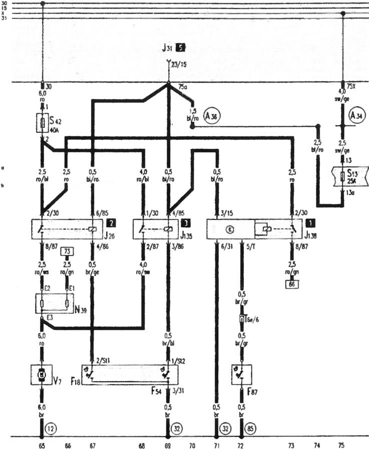 Электрические схемы автомобиля Ауди 100, модификация С4