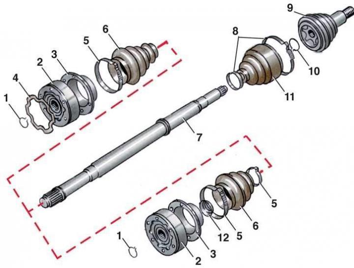 Внутренний шарнир равных угловых скоростей (ШРУС) (Ауди