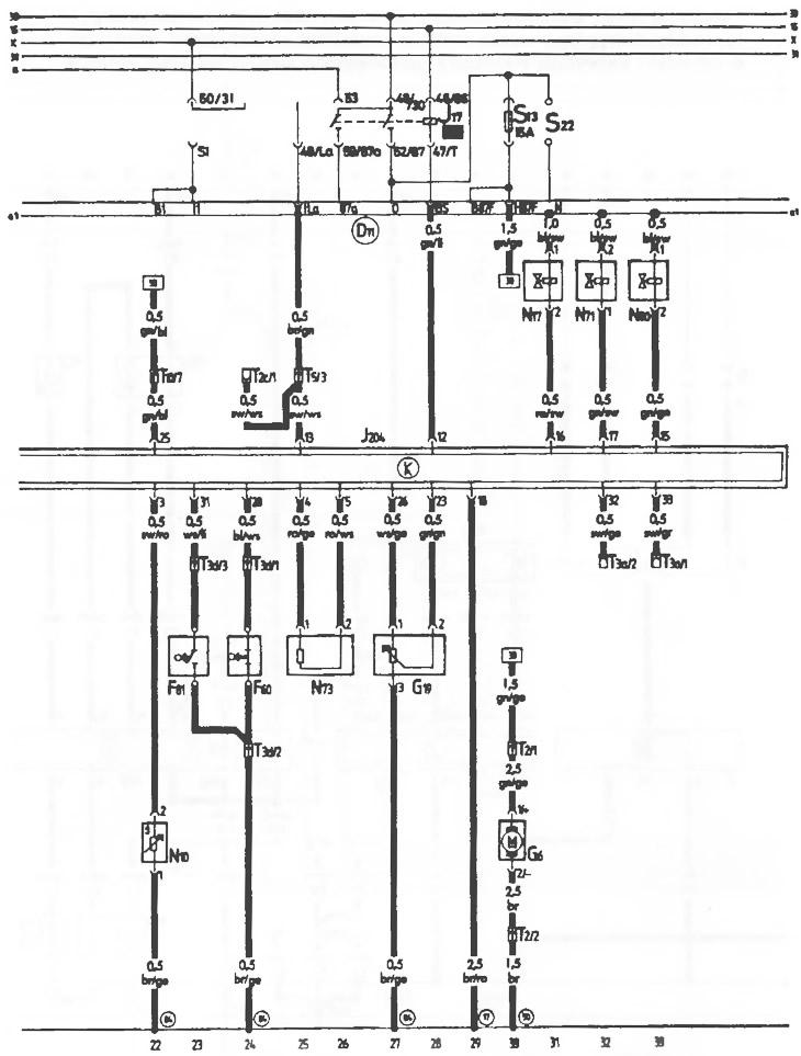 Схема электрических соединений топливной системы (модели 2
