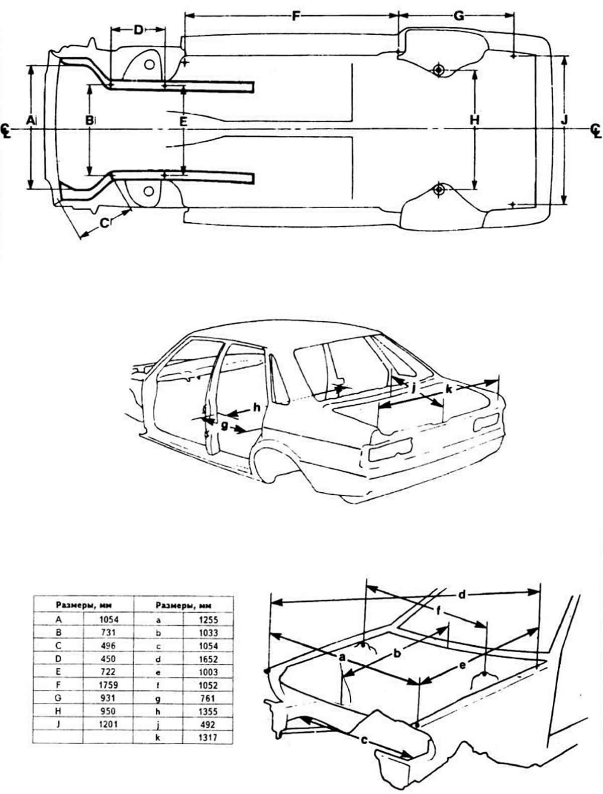 Схемы контрольных точек кузова (Ауди 80 Б2, 1979-1986