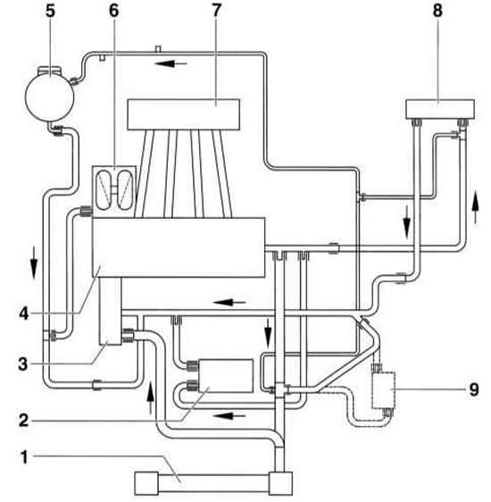 Устройство системы охлаждения двигателя (Ауди А3 Typ 8L