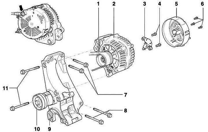 Снятие и установка генератора (Ауди А3 Typ 8L, 1996-2003