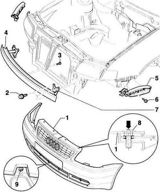 Снятие и установка бамперов (Ауди А3 Typ 8L, 1996-2003