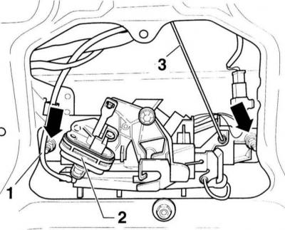 Снятие и установка запорного механизма (Ауди А3 Typ 8L