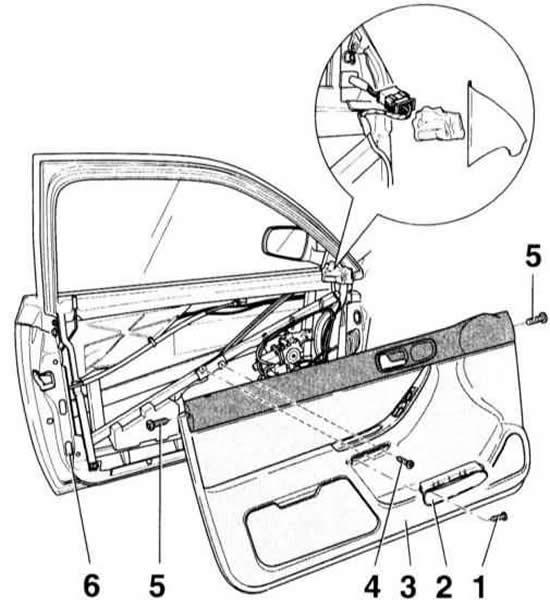 Снятие и установка облицовки двери (Ауди А3 Typ 8L, 1996