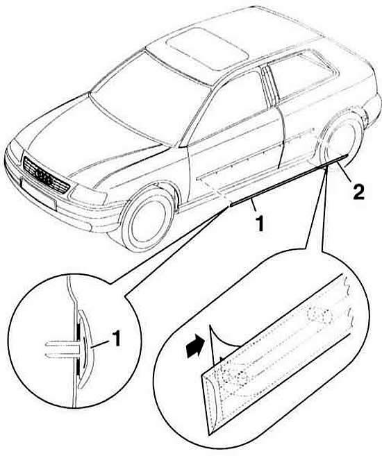 Снятие и установка бокового молдинга (Ауди А3 Typ 8L, 1996