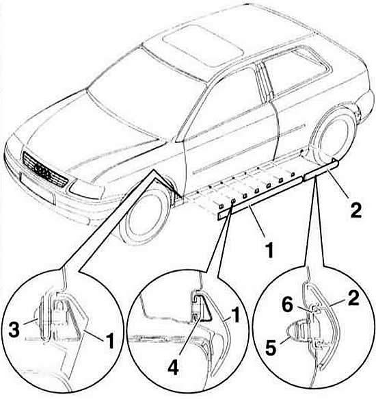 Снятие и установка накладки двери и крыла (Ауди А3 Typ 8L