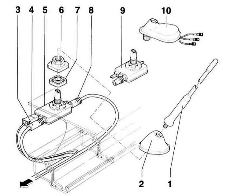 Снятие и установка антенны крыши (Ауди А3 Typ 8L, 1996