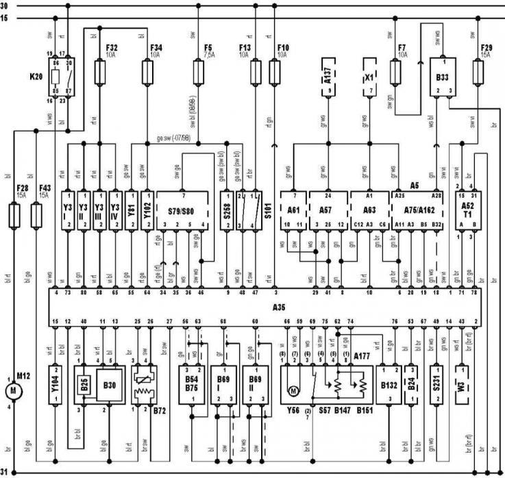 Электрические схемы автомобиля Ауди А3, модификация Typ 8L