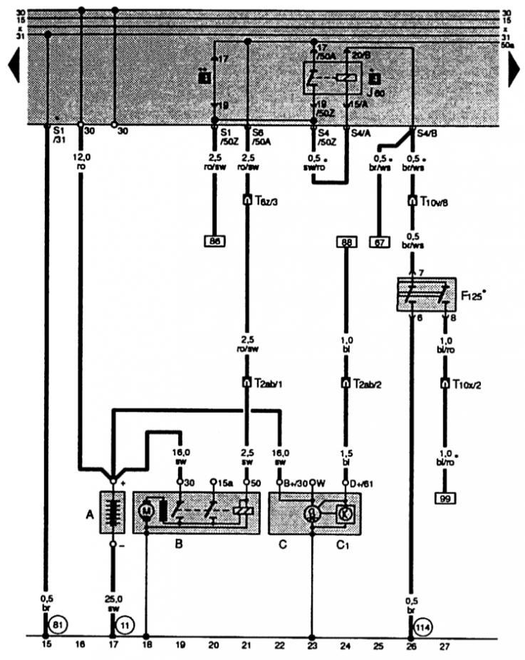 Электрические схемы автомобиля Ауди А4, модификация Б5