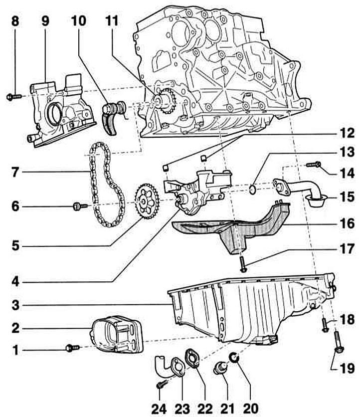 Масляный насос и поддон картера (Ауди А4 Б6, 2000-2006