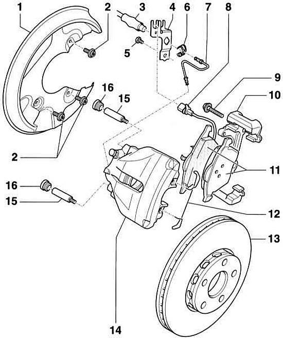 Снятие и установка передних тормозных колодок (Ауди А4 Б6