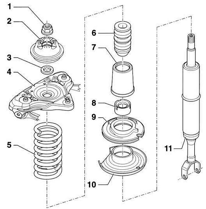 Снятие и установка переднего амортизатора / разборка