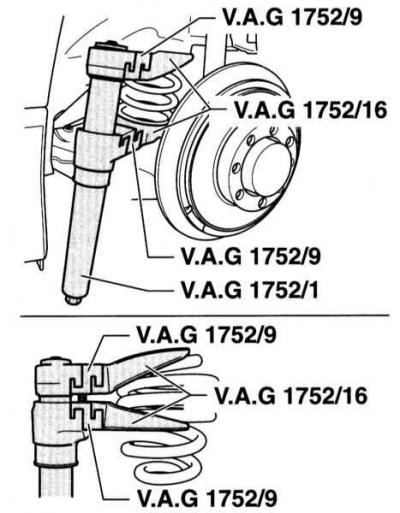 Снятие и установка задней винтовой пружины (Ауди А4 Б6