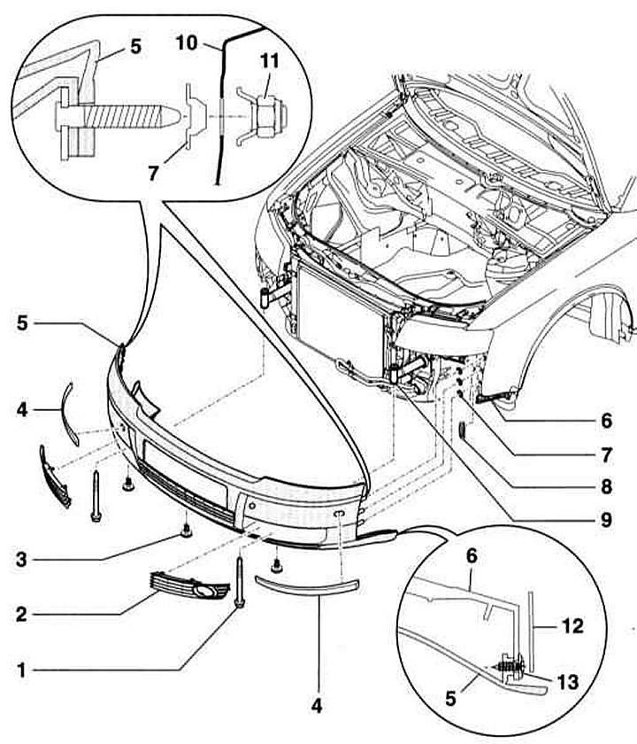 Снятие и установка переднего бампера (Ауди А4 Б6, 2000