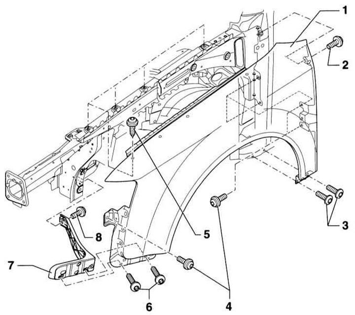 Снятие и установка переднего крыла (Ауди А4 Б6, 2000-2006