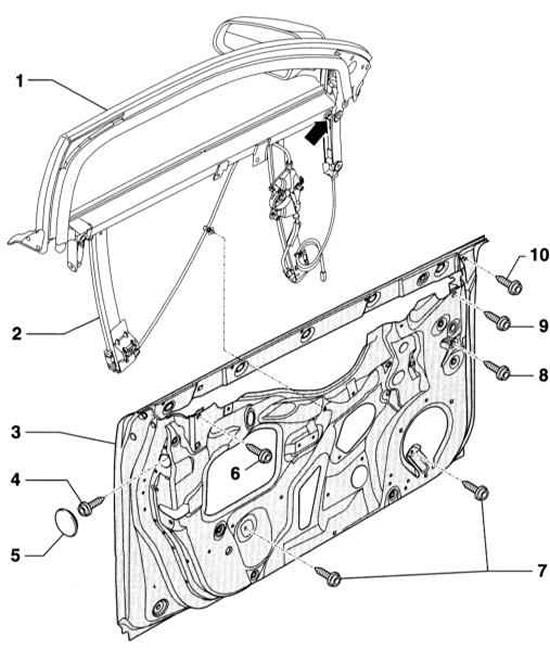 Снятие и установка рамы окна передней двери (Ауди А4 Б6