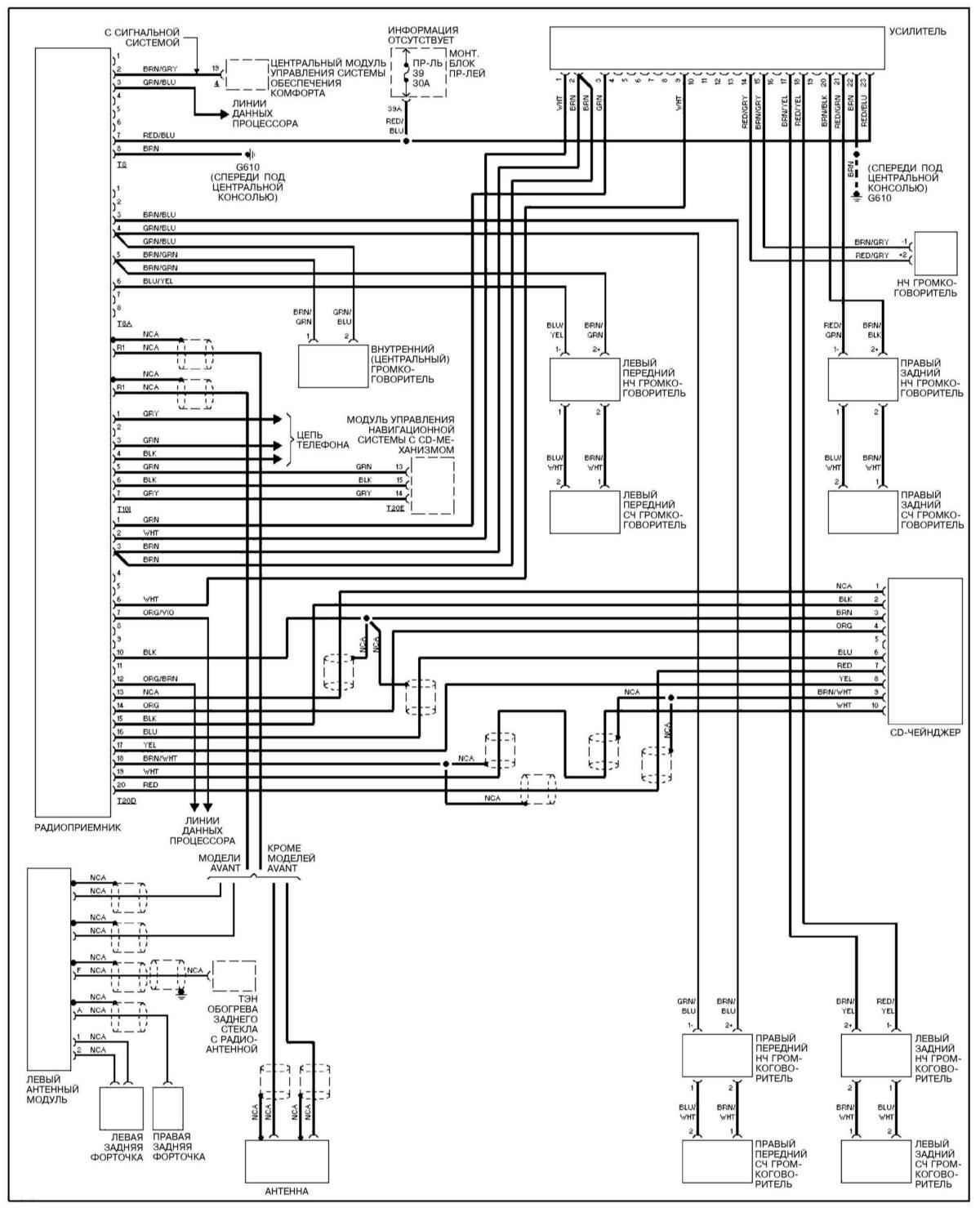 Аудиосистема с усилителем (Ауди А4 Б6, 2000-2006