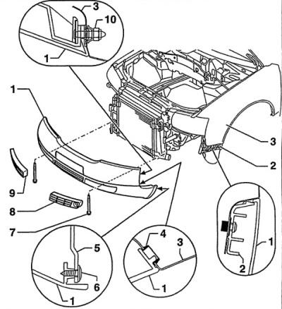 Передний бампер (Ауди А6 С5, 1997-2004, Экстерьер)