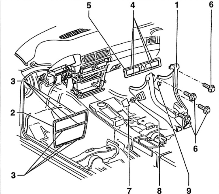 Передняя центральная консоль (Ауди А6 С5, 1997-2004, Интерьер)