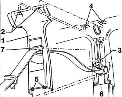 Верхняя обивка средней стойки (Ауди А6 С5, 1997-2004