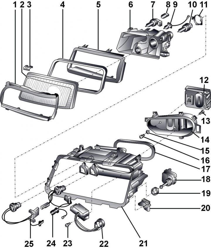 Снятие и установка фары (Ауди А8 Д2, 1994-2002, Освещение