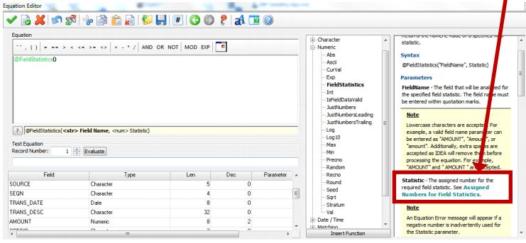 Equation Editor with Description of @FieldStatistics Screenshot