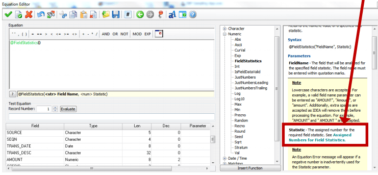Equation Editor with Description of @FieldStatistics Screenshot